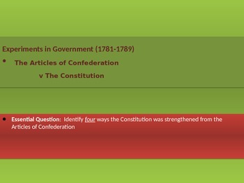 2. Experiments in Government - Lesson 6 of 6 - Articles v Constitution