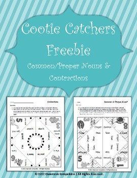 2 FREE Cute Cootie Catchers (Common/Proper Nouns and Contractions)