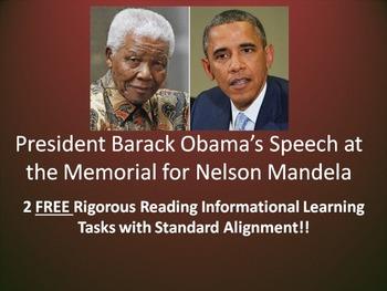 2 FREE Learning Tasks for Pres. Barack Obama's Nelson Mandela's Memorial Speech!