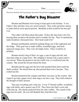 2 Father's Day Reading Comprehension Passages: Father's Day Paired Text