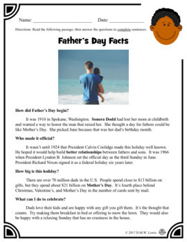 2 Father's Day Summer Reading Comprehension Passages: Father's Day Paired Text