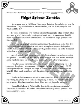 2 Fidget Spinner Reading Comprehension Passages: Fidget Spinner Paired Text
