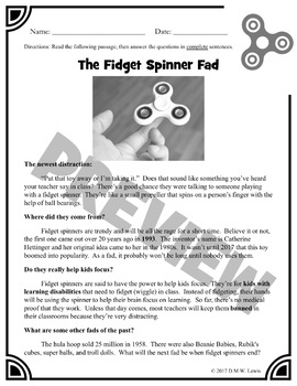 Fidget Spinner: Fun Reading Activities: Fun Reading Centers: Paired Passages
