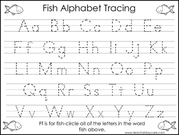2 Fish themed Task Worksheets. Trace the Alphabet and Numb