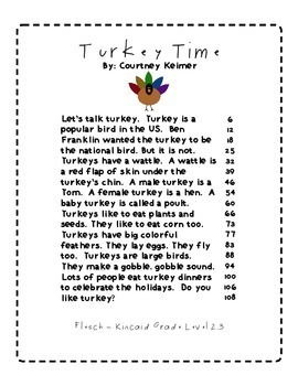 2 Fluency Passages & Comprehension Activities {Turkey Time & Traditions}