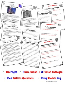 2 Fourth of July Reading Comprehension Passages: Fourth of July Paired Text