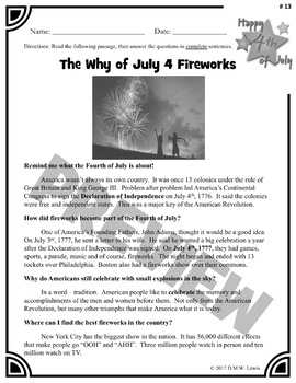 3 Fourth of July Reading Comprehension Passages: Fourth of July Paired Text