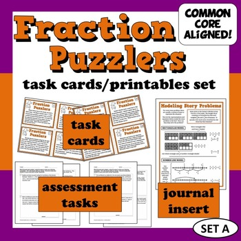 Fraction Puzzlers - fraction story problems task cards + printables (set a)