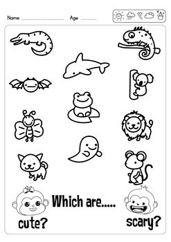 2 Free Cute or Scary Worksheets - Match and Color