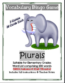 2 Full Printable Bingo Vocabulary Games- Plurals