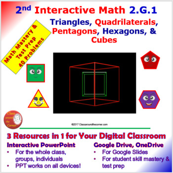 2 G 1 Math Interactive Test Prep: Shapes & Cubes in 3 Formats