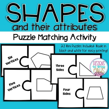 2.G.1- Shape Attributes Puzzle Matching Activity