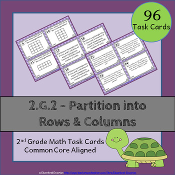 2.G.2 Task Cards: Partition into Rows & Columns (Second-Gr