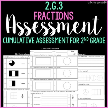 2.G.3 Fractions Cumulative Assessment 2nd Grade Common Core
