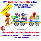 2.G.3 Math Interactive Test Prep: Partitioning into Equal Groups in 3 Formats