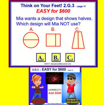 2.G.3 THINK ON YOUR FEET MATH! Interactive Test Prep Game--Into Equal Shares