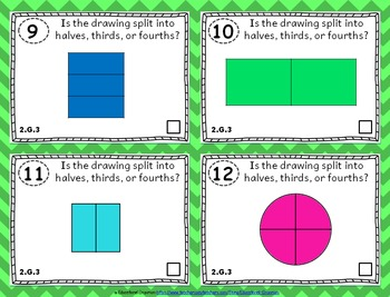 2.G.3 Task Cards: Fractions & Equal Shares Task Cards 2.G.3: Fraction Shapes 2G3