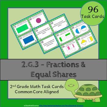 2.G.3 Task Cards: Fractions & Equal Shares Task Cards 2.G.