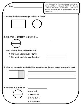 2.G.A.3 Assessments - Fractions