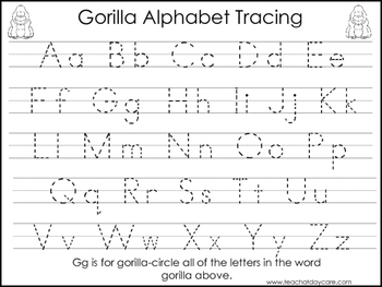 2 Gorilla themed Task Worksheets. Trace the Alphabet and Numbers 1-20. Preschool