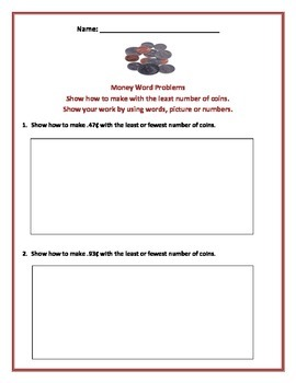 Math: Money Word Problems - Aligned with Common Core