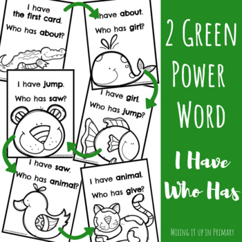 2 Green (2G) Power Word I Have Who Has Game