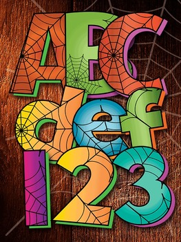 2 Halloween Spider Web Alphabets Digi Stamp - Multicolored
