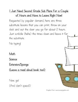 2 Hour No Prep Substitute Lesson Plan, Second Grade, Set 2 Math/Science