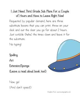 2 Hour No Prep Substitute Lesson Plan,Third Grade, Set 3 Spelling/Art