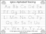 2 Igloo themed Task Worksheets. Trace the Alphabet and Numbers 1-20. Preschool