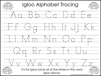 2 Igloo themed Task Worksheets. Trace the Alphabet and Num
