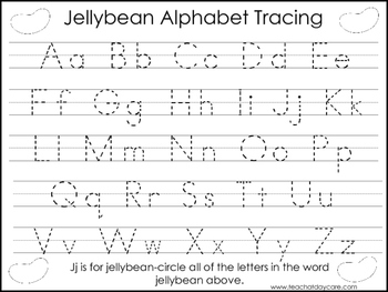 2 Jellybean themed Task Worksheets. Trace the Alphabet and Numbers 1-20. Presch