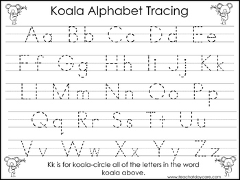2 Koala themed Task Worksheets. Trace the Alphabet and Num
