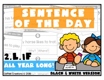 2.L.1f - Sentence of the Day - ALL YEAR LONG! (Black and White Version)