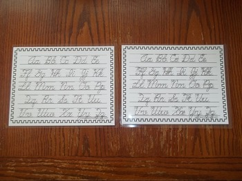 2 Laminated Alphabet Dry Erase Tracing Worksheets. Cursive