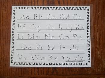 2 Laminated Alphabet Dry Erase Tracing Worksheets. Manuscript and Cursive.