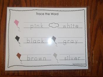 2 Laminated Color Kites Dry Erase Tracing Worksheets. Handwriting.