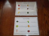 2 Laminated Fruit and Veggie Dry Erase Tracing Worksheets. Child Nutrition.