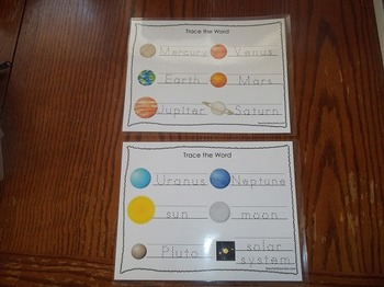 2 Laminated Solar System  Dry Erase Tracing Worksheets. Preschool Astronomy.