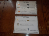 2 Laminated Weather Themed Dry Erase Tracing Worksheets. Preschool Meteorology..
