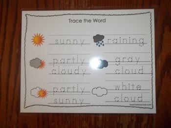 2 Laminated Weather Themed Dry Erase Tracing Worksheets. Preschool Meteorology..