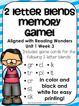2 Letter Blends Memory Game---Aligned with Reading Wonders Unit 1 Week 3