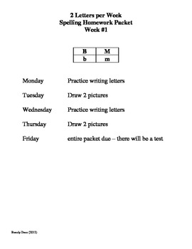 2 Letters per Week Homework Packets