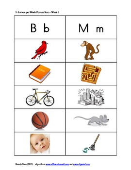 2 Letters per Week Picture Sorts