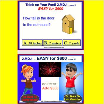 2.MD.1 Interactive Test Prep Game - Jeopardy 2nd Grade Math: Measurement Tools