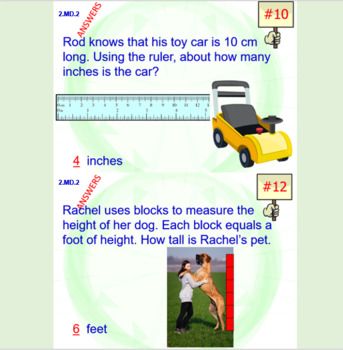 2.MD.2 Math Interactive Test Prep: Measure Objects Two Ways – in 3 Formats