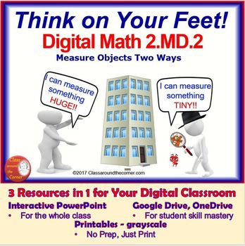 2.MD.2 THINK ON YOUR FEET MATH! Interactive Test Prep Game—Measure Objects Twice