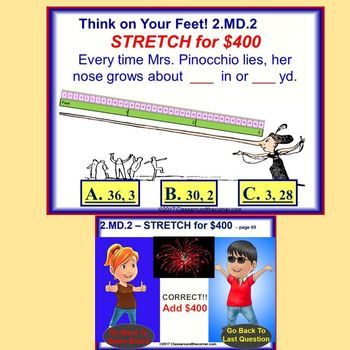 2.MD.2 Interactive Test Prep Game - Jeopardy 2nd Gr Math: Measure Objects Twice