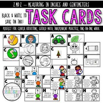 2.MD.2 Task Cards | Measuring in Inches & Centimeters