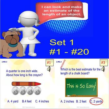 2.MD.3 Math Interactive Test Prep: Estimate Lengths - in 3 Formats